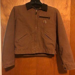 Carhartt brown fleece line coat size L /kid 14